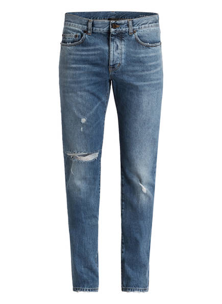 SAINT LAURENT Destroyed-Jeans Slim Fit, Farbe: USED MEDIUM BLUE (Bild 1)