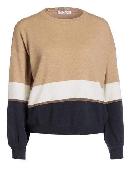 BRUNELLO CUCINELLI Cashmere-Pullover, Farbe: BEIGE/ WEISS/ BRAUN (Bild 1)
