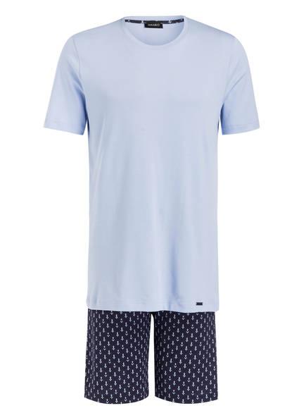 HANRO Shorty-Schlafanzug, Farbe: HELLBLAU/ DUNKELBLAU (Bild 1)