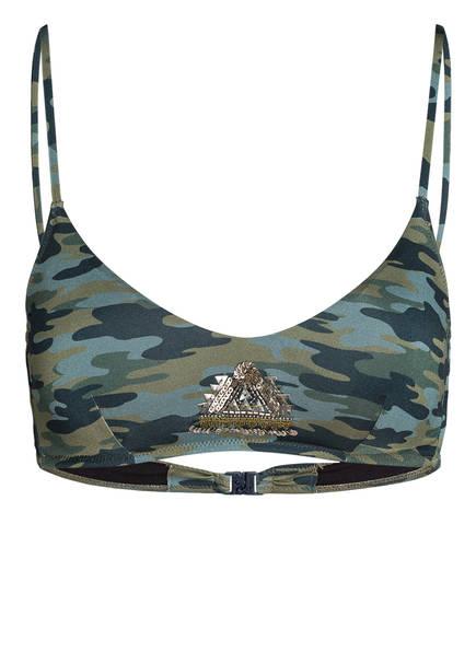 watercult Bralette-Bikini-Top CAMO LUXE mit Pailettenbesatz, Farbe: GRÜN/ OLIV CAMOUFLAGE (Bild 1)