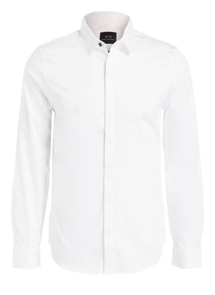 ARMANI EXCHANGE Hemd Slim Fit mit verdeckter Knopfleiste, Farbe: WEISS (Bild 1)