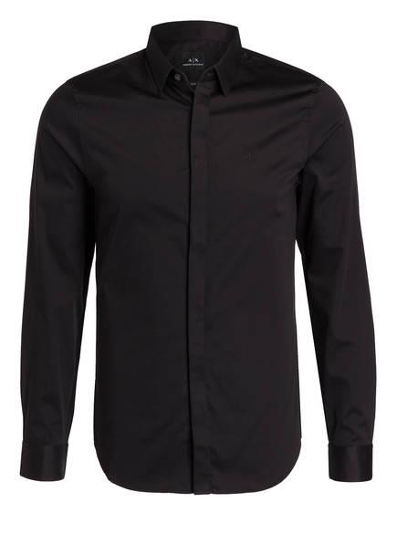 ARMANI EXCHANGE Hemd Slim Fit mit verdeckter Knopfleiste, Farbe: SCHWARZ (Bild 1)