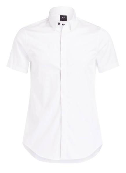 ARMANI EXCHANGE Halbarm-Hemd Slim Fit mit verdeckter Knopfleiste, Farbe: WEISS (Bild 1)