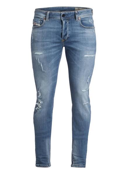 DIESEL Destroyed-Jeans SLEENKER Skinny Fit, Farbe: WASHED BLUE DESTROYED (Bild 1)