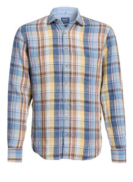 OLYMP Leinenhemd Casual modern fit, Farbe: BLAU/ GELB/ BRAUN (Bild 1)