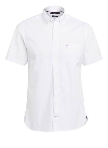 Comfort Hilfiger Weiss hemd Stretch Poplin Halbarm Tommy vTBwqxdIT