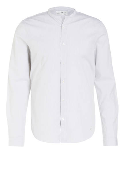 NOWADAYS Hemd Slim Fit mit Stehkragen, Farbe: WEISS/ DUNKELBLAU  (Bild 1)