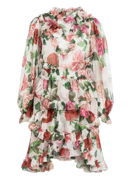 DOLCE&GABBANA Chiffon-Kleid aus Seide , Farbe: CREME/ ROT/ GRÜN (Bild 1)
