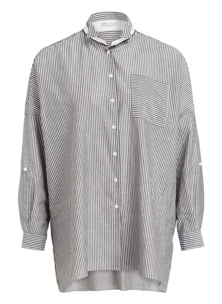 BRUNELLO CUCINELLI Oversized-Bluse, Farbe: GRAU/ WEISS (Bild 1)