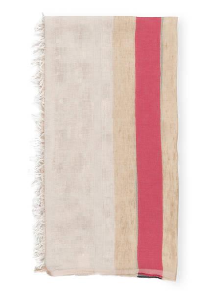 Marc O'Polo (White Label) Schal mit Leinenanteil, Farbe: BEIGE/ ROT/ GRÜN (Bild 1)
