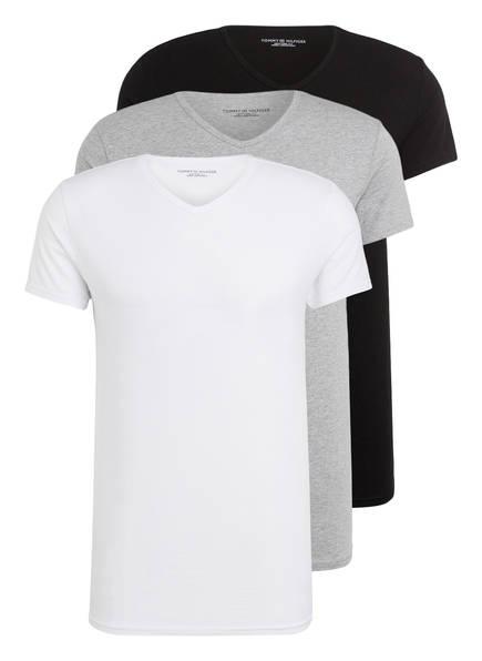TOMMY HILFIGER 3er-Pack V-Shirts, Farbe: WEISS/ GRAU/ SCHWARZ (Bild 1)