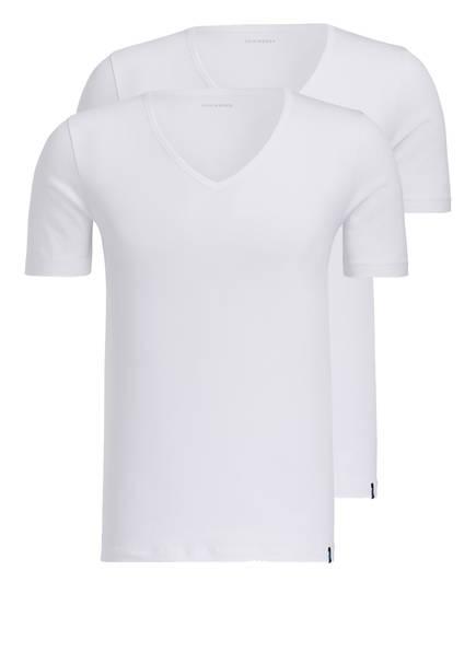SCHIESSER 2er-Pack V-Shirts 95/5, Farbe: WEISS (Bild 1)