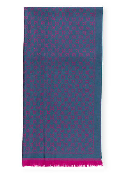 GUCCI Schal, Farbe: PETROL/ PINK (Bild 1)