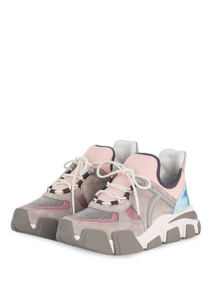 Salvatore Ferragamo Plateau-Sneaker, Farbe: GRAU/ ROSA (Bild 1)