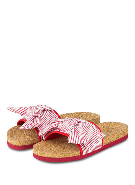 flip*flop Pantoletten POOL BOWSTRIPE, Farbe: WEISS/ ROT GESTREIFT (Bild 1)