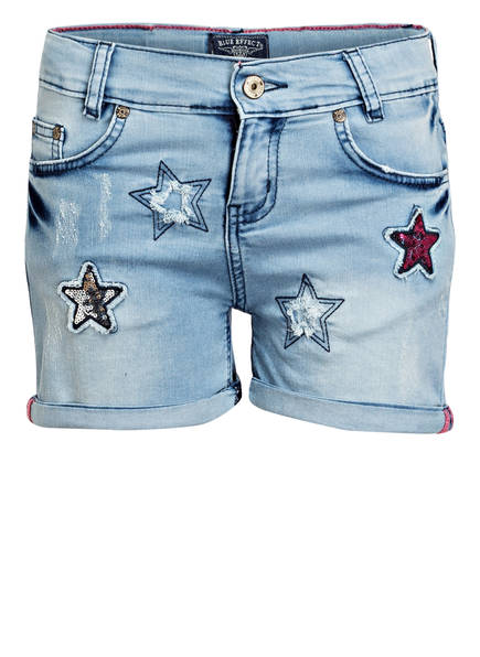 BLUE EFFECT Jeans-Shorts mit Paillettenbesatz , Farbe: LIGHT BLUE (Bild 1)