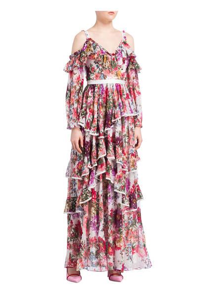 Off Rosa kleid Volants Ivory Thread Mit amp; Lila Needle shoulder EfHcTngHq