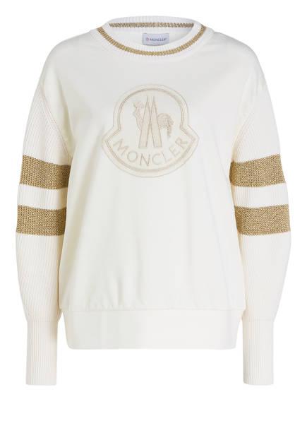 MONCLER Sweatshirt im Materialmix, Farbe: ECRU (Bild 1)