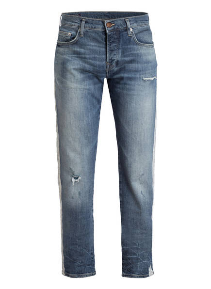 TRUE RELIGION Destroyed-Jeans NEW ROCCO Relaxed Skinny Fit, Farbe: BLUE DENIM (Bild 1)