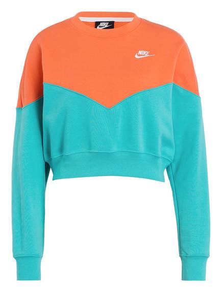 Nike Sweatshirt HERITAGE, Farbe: TÜRKIS/ ORANGE (Bild 1)