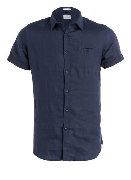 DSTREZZED Halbarm-Leinenhemd Slim Fit, Farbe: DUNKELBLAU (Bild 1)