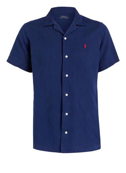 POLO RALPH LAUREN Halbarm-Resorthemd mit Leinenanteil, Farbe: NAVY (Bild 1)
