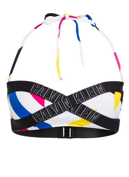 Calvin Klein Bandeau-Bikini-Top INTENSE POWER, Farbe: WEISS/ BLAU/ GELB (Bild 1)