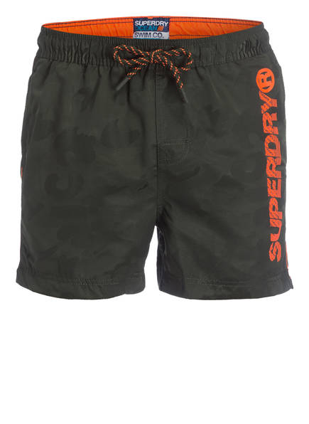 Superdry Badeshorts POOL SIDE, Farbe: OLIV/ ORANGE (Bild 1)