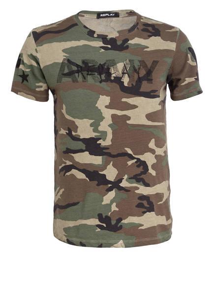 REPLAY T-Shirt, Farbe: GRÜN/ BRAUN/ SCHWARZ (Bild 1)