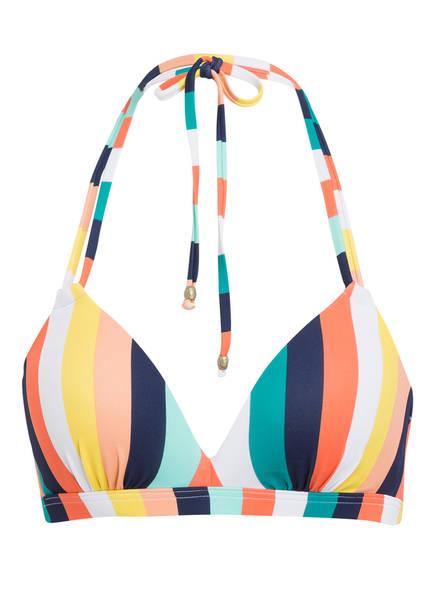 BEACHLIFE Neckholder-Bikini-Top CANDY STRIPE, Farbe: BLAU/ GRÜN/ ROSA (Bild 1)