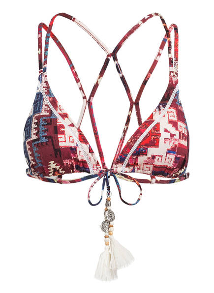 watercult Triangel-Bikini-Top ETHNO FUSION, Farbe: DUNKELROT/ BLAU (Bild 1)