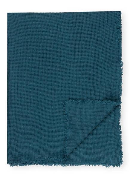 zoeppritz Leinen-Plaid HONEYBEE , Farbe: PETROL  (Bild 1)