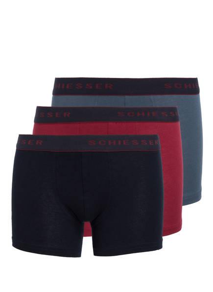 SCHIESSER 3er-Pack Boxershorts, Farbe: DUNKELROT/ PETROL/ DUNKELBLAU (Bild 1)