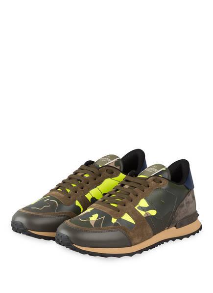 VALENTINO GARAVANI Sneaker ROCKRUNNER CAMOUFLAGE, Farbe: OLIVE/ NEON GELB/ KHAKI (Bild 1)