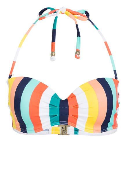 BEACHLIFE Bandeau-Bikini-Top CANDY STRIPE, Farbe: GELB/ WEISS/ DUNKELBLAU (Bild 1)