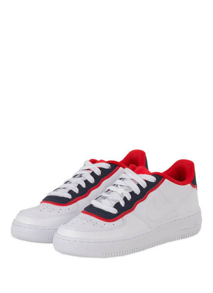 Nike Sneaker AIR FORCE 1, Farbe: WEISS/ DUNKELBLAU/ ROT (Bild 1)