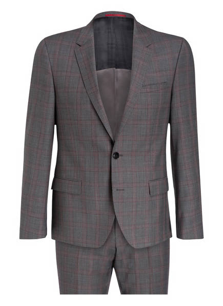 HUGO Anzug HENRY/GRIFFIN Extra Slim Fit, Farbe: DUNKELGRAU/ DUNKELROT KARIERT (Bild 1)