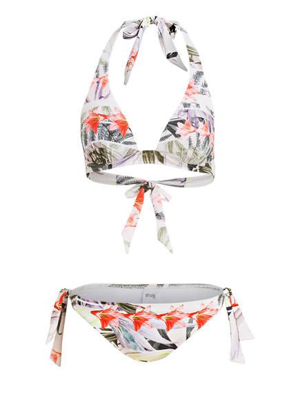 MARYAN MEHLHORN Neckholder-Bikini MOMENTUM, Farbe: WEISS/ DUNKELGRÜN/ ORANGE (Bild 1)