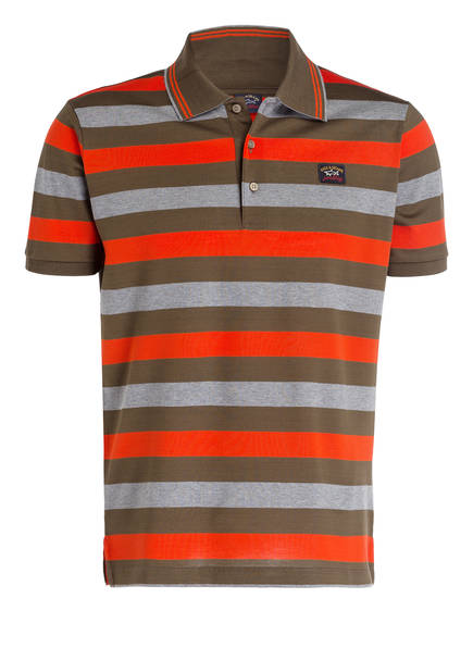 PAUL & SHARK Piqué-Poloshirt, Farbe: KHAKI/ ROT/ GRAU (Bild 1)