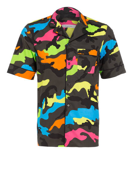 VALENTINO Halbarm-Resorthemd Regular Fit , Farbe: KHAKI/ SCHWARZ/ NEONGRÜN (Bild 1)
