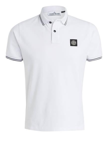 STONE ISLAND Piqué-Poloshirt Slim Fit, Farbe: WEISS (Bild 1)