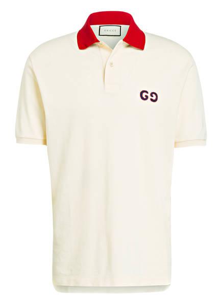 GUCCI Piqué-Poloshirt, Farbe: BEIGE/ ROT (Bild 1)