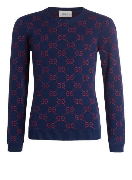 GUCCI Pullover, Farbe: DUNKELBLAU/ ROT (Bild 1)