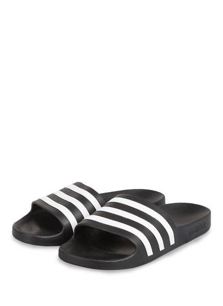 adidas Pantoletten ADILETTE AQUA, Farbe: SCHWARZ/ WEISS (Bild 1)