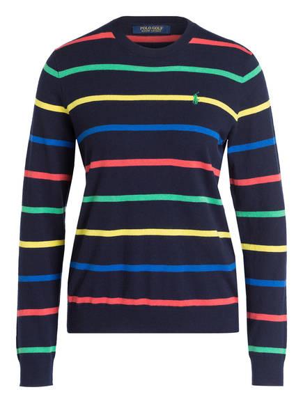 POLO GOLF RALPH LAUREN Pullover mit Cashmere-Anteil , Farbe: DUNKELBLAU/ GELB/ GRÜN GESTREIFT (Bild 1)