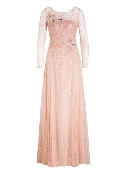 MARCHESA NOTTE Kleid mit Glitzer und Tüllblütenbesatz, Farbe: ROSÉ (Bild 1)