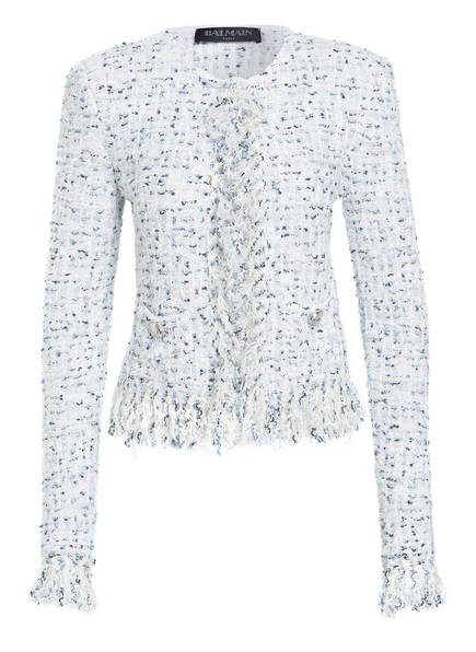 BALMAIN Tweed-Blazer, Farbe: WEIS/ BLAU (Bild 1)