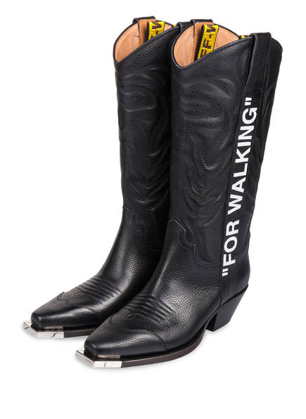"OFF-WHITE Cowboy Boots ""FOR WALKING"", Farbe: SCHWARZ (Bild 1)"