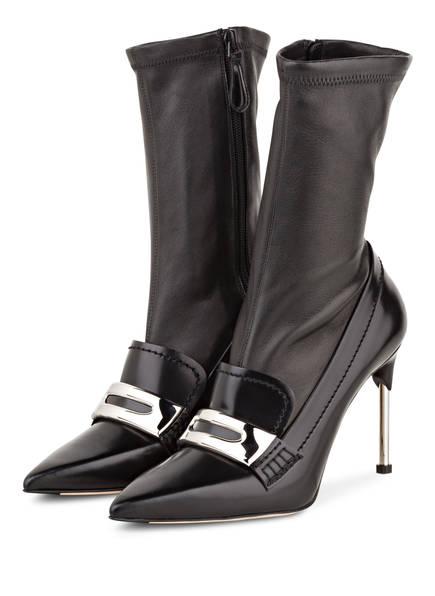 ALEXANDER MCQUEEN Stiefelette Schwarz Leder Damen Schuhe