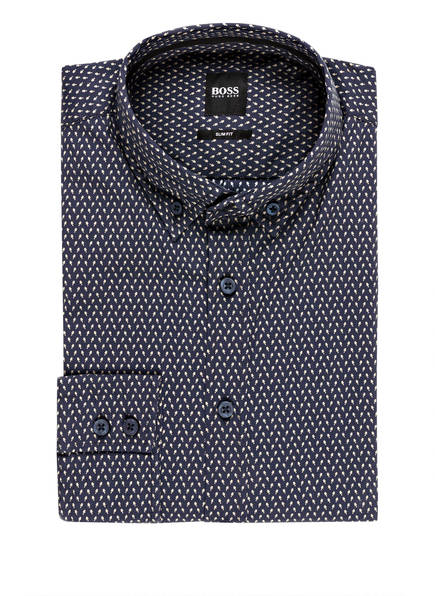 BOSS Hemd MABSOOT Slim Fit, Farbe: DUNKELBLAU/ HELLGELB (Bild 1)